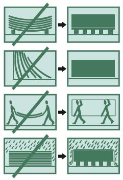 Cetris plokščių transportavimo ir sandėliavimo taisyklių vizualas